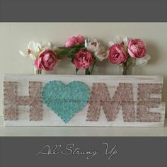 awesome Home string art. Love heart in aqua. All Strung Up... Wood Nails, Pin Art, String Art States, String Heart, Wood Art, String Crafts, Nail String Art, Wood Crafts, Key Hooks