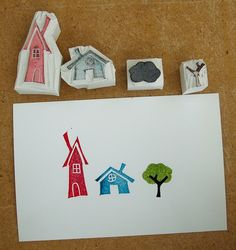 HAND CARVED HOUSE STAMPS