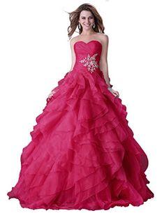 Amazon.com  GRACE KARIN Women s Ball Gown Ruffle Crystal Organza Long  Formal Prom Dresses  Clothing 448b2ac50c72