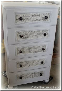 A little paint, mod podge and molding turned this from shabby and neglected to simply amazing!for Niki Decoupage Furniture, Refurbished Furniture, Repurposed Furniture, Furniture Projects, Furniture Making, Furniture Makeover, Painted Furniture, Diy Furniture, Refurbished Headboard