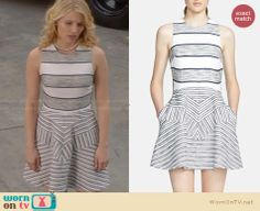 Quinn's grey striped dress on Glee. Outfit Details: http://wornontv.net/28914 #Glee #fashion