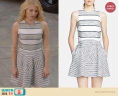Quinn's grey striped dress on Glee. Outfit Details: http://wornontv.net/28914 #Glee #fashion