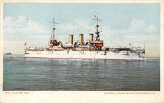 USS New York~US Navy Armored Cruiser~Battleship~1899 Detroit Pub Co Postcard