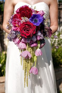 Long Cascading Bridal Bouquet -Like the idea of the hanging but overall white color and hints of coral and greenery