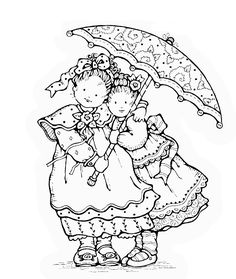 Rain or Shine - Penny Black Cute Coloring Pages, Colouring Pics, Adult Coloring Pages, Coloring Books, Holly Hobbie, Embroidery Patterns, Hand Embroidery, Penny Black Karten, Penny Black Stamps