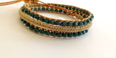 Leather wrap bracelet , for women , wrapped around the wrist 3 times by HandmadeMinola on Etsy