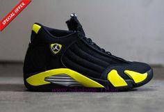 487471-070 AIR JORDAN 14 RETRO Thunder Black/Yellow Mens-Womens Outlet Online