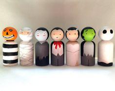 Set of Seven Halloween Peg Dolls