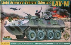 LAV-M, Light Armored Vehicle Mortar. Ace, 1/72, rebox 2004 (ex Ace 2003 No.72401, updated / new parts), No.72407. Price: Not Sold.