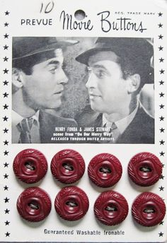 "Vintage Movie Star Button card featuring  Henry Fonda and Jimmy Stewart in ""Our Merry Way""  1948."
