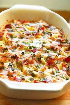 Asiago Cheese Ham and Potato Casserole