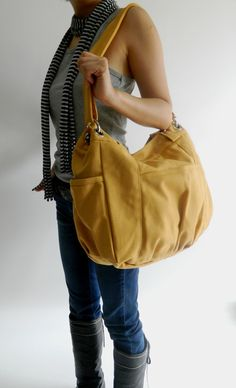 SALE - 10% OFF - Halloween treat - Anna - shoulder bag / messenger - Mustard. $45.00, via Etsy.