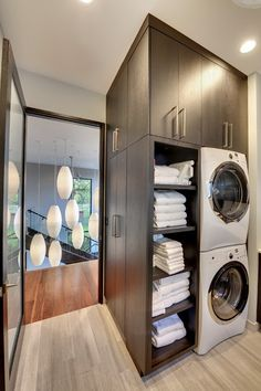 40 Stylish Laundry Room To Copy Today. Laundry rooms have the capability of being the most functional room in the home. Whether large or small, efficient and stylish laundry facilities can turn the mo. Laundry Closet, Laundry Room Storage, Laundry In Bathroom, Closet Storage, Laundry Rooms, Towel Storage, Laundry Area, Linen Storage, Small Laundry