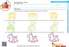 Actividad a realizar: Colorea en cada fila los juguetes que son iguales y marca con una x el diferente Coordinación visomotriz: Colorear y marcar Capacidad: Reconocer