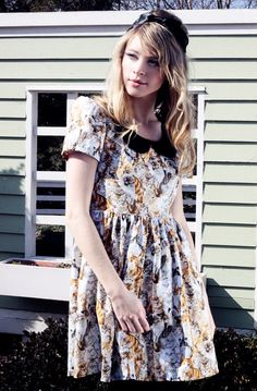 CAT PRINT Dress with Black Collar Made to Order by viciousthreads, $95.00