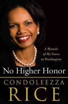 This is Condoleezza Rice's account of her time with Pres. George W. Bush as National Security Adviser and Secretary of State.  It is over 700 pages.  It is very detailed and outlines her participation in world affairs.  It is not gossipy and she does not bad mouth current/former administrations.  Worth the read.