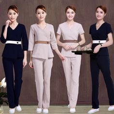 SPA health pedicure clothing overalls short-sleeved summer and fall Beautician cultivate one's morality pants female