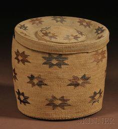 Tlingit Twined Lidded Basket | c. early 20th century