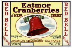 Red Bell New Jersey Cranberry Fruit Crate Box Label. $5,25, via Etsy.