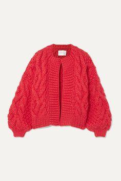 I Love Mr Mittens Aran Cable-knit Wool Cardigan In Red I Love Mr Mittens, Wool Cardigan, Knitting Designs, World Of Fashion, Cable Knit, Knit Dress, Knitwear, Menswear, Sweaters