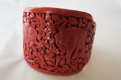 VTG Wide Heavily Carved Cinnabar Cuff Bracelet