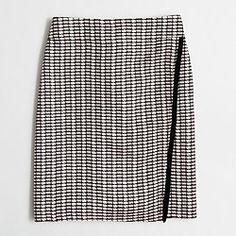 Factory wrap-front mini skirt in tweed