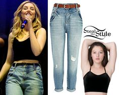 Perrie Edwards performed at Radio City Live a couple of nights ago with her bandmates wearing a pair of Light Wash Ripped Slim Mom Jeans ($80.00) from River Island and a black velvet bralet similar to American Apparel's Strecth Velvet Bustier ($40.00).