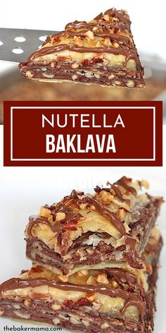 Dessert Recipes 113856696817313952 - Nutella Baklava is a hazelnut lovers dream come true. Tender layers, loads of Nutella, nuts and more. Whip this up for a fun twist to the traditional Baklava recipe. Source by thebakermama Quick Easy Desserts, Healthy Dessert Recipes, Baking Recipes, Cookie Recipes, Healthy Nutella Recipes, Nutella Snacks, Chocolate Recipes, Vegetarian Recipes, Baklava Dessert