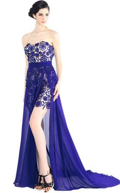 Long Sweetheart Lace Evening Dress (31138)  £395.00 This gorgeous floor length strapless sweetheart formal dress by Elliot Claire featuring a knee length lace under dress bodice and a flowing blue chiffon full length skirt with high slit falls from the empire waist for a flattering look to this stunning strapless gown for prom or formal events.