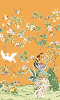 Brunschwig & Fils custom hand painted wall covering, in the Peony and Fruits print, from our New Jiang Nan Gardens Collection