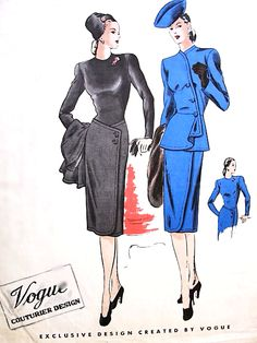 1940s Gorgeous FILM NOIR Dress and Jacket Pattern VOGUE COUTURIER Design 209 Simulated Front Wrap Skirt Peplum Jacket with Cascade Drapery Cocktail Party Evening Wear Bust 30 Vintage Sewing Pattern