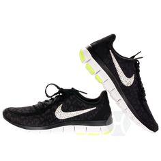 Nike Free 5.0 v4 in Black Silver Lime Cheetah with Harriet and Hazel  Swarovski 4cf7b046bbec