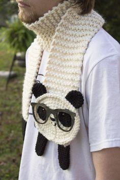 Nerdy Panda Scarf by Panduhmonium (knit and crochet) [inspiration]
