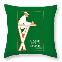 "Retro tennis game set and match Throw Pillow 14"" x 14"" by Aapshop"