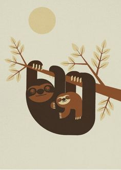 ARTFINDER: Sloth by Gleb Toropov - Sloth print is one of a series of retro animal images available. These prints will bring warmth and fun to any room. Bold colours and simple shapes appeal to...
