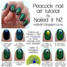 Nail art for short nails tutorial #11: Peacock nails
