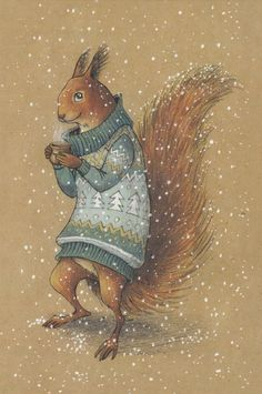 VERY RARE Squirrel in sweater with mug by Lia Selina Russian modern postcard