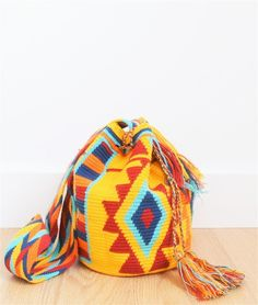 wayuu mochila bag yellow blue red