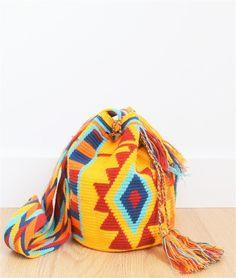 wayuu mochila bag yellow blue red
