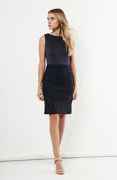 J.O.A Round Neck Dress With Lace Skirt in Navy XS - S | DAILYLOOK