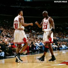 Scottie Pippen and Michael Jordan exchange a bump in Game 2 of the 1998 Playoffs (Eastern Conference Semi-Finals) on May 2nd at the United Center. The Charlotte Hornets won that game 78-76, but the Bulls came back to take the series 4-1. Photo courtesy of NBAE and Nathaniel S. Butler