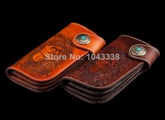 NEW Indian Chief Tattoo Tribal Handmade Vintage Carved Tooled Leather Biker Wallet $149.99