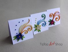 Quilling; Set of 3 paper, handmade, greeting cards in yellow, purple, blue and green; blank; for any occasion