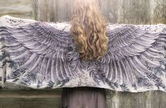 Wings and feathers scarf. A combination of digital printing and hand painting. By Shovava on Etsy