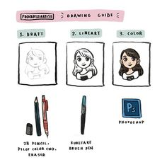 Soooo here's my little 3-step-to-a-doodle guide, along with the tools I use for my drawings. ✏ ••• #illustration #guide #drawing #doodle #process #art