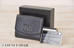 CHANEL Black Caviarskin Leather CoCo Mark Folding Purse