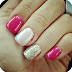 three colors on the nails with glitter accent nail
