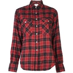 R13 plaid flannel shirt (14.710 UYU) ❤ liked on Polyvore featuring tops, shirts, blusas, blouses, long sleeves, red shirt, red flannel shirt, flannel shirts, red collar shirt and red top