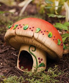 """We're planting a fairy garden this summer. My girls will be painting little houses for the fairies to live in but I'm so tempted to add this adorable toad house to the """"village."""""""