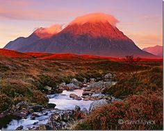 The munro, Buchaille Etive Mor, at first light on an autumnal morning overlooking the River Etive, Argyll and Bute, Scotland